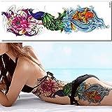 EROSPA® Tattoo-Bogen temporär - Fisch Wasser Welle Blume Blüte Pfau