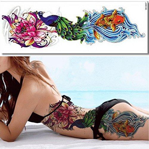 (EROSPA® Tattoo-Bogen temporär - Fisch Wasser Welle Blume Blüte Pfau - 48 x 17 cm)
