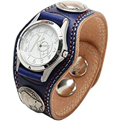 Kc,s Leather Craft Watch Bracelet 3 Concho Double Stitch Color Navy