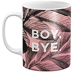 Pink Boy Bye Bitch Teenager Mean Quote Tropical Palm Leaves 11 ounce Ceramic Tea Coffee Mug Taza