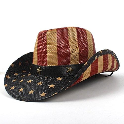HÖHERE MÄNNER 4 Stil Nationalflagge Cowboyhut for Frauen Männer Fedora Hut Sonnenhut Cowgirl Hut (Farbe : 2, Größe : - China Kostüm Führen