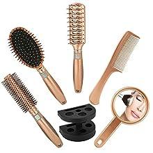 HOVUK® Rose Gold 5pcs Hair Brush Set, Ladies Hair Care Paddle with Mirror Hairbrush Holder, Hair Brush, Hair Comb, Vent brush, Round brush set Cosmetics Hair Styling Tools Sets for Women