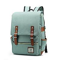 TININNA Unisex Vintage Canvas Backpack Satchel Rucksack Daypack Shoulder School Bag Schoolbag for Women Ladies Girls Light Green