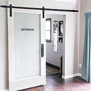 yosoo 183cm kit de porte coulissante poulie de rail suspendu syst me de porte coulissante. Black Bedroom Furniture Sets. Home Design Ideas