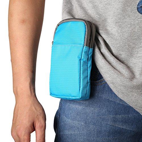 Moon mood Handy Umhängetasche, Universal Mini Gürteltasche, Blau Universal 6.0 Zoll Nylon Doppelter Handy Beutel Crossbody Handytasche Hüfttasche Gürteltasche für iPhone X 8 Plus Galaxy S8 S9