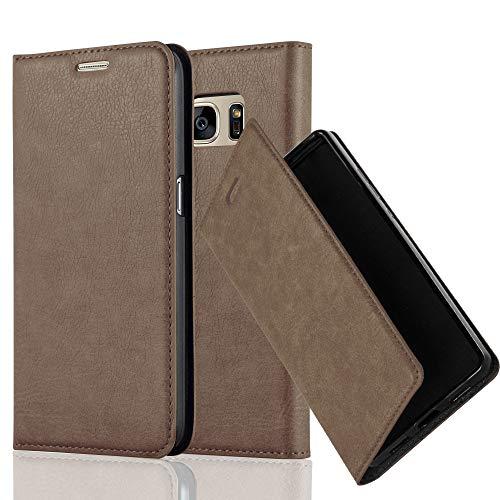 Preisvergleich Produktbild Cadorabo Hülle für Samsung Galaxy S7 - Hülle in Kaffee BRAUN – Handyhülle mit Magnetverschluss,  Standfunktion und Kartenfach - Case Cover Schutzhülle Etui Tasche Book Klapp Style