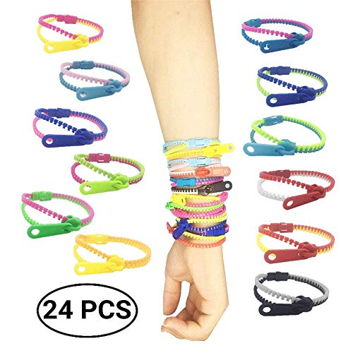 mciskin Friendship Fidget Zipper Bracelets,Sensory Toys Bulk Set Neon Colors,Kit for Birthday,Party Favors for Kids,Goodie Bags,Easter Egg Basket Stuffers(24PCS,Color Random)
