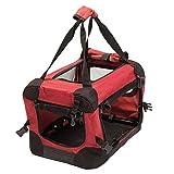 Favorite Transportín de Viaje para Mascotas, Perros y Gatos, Plegable, de Malla, 40,5 x 30 x 27 cm, Color Rojo y Negro