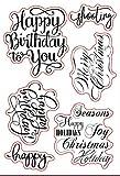 Weihnachts-Stempel mit Sprüchen zum Geburtstag und Grüßen aus Gummi, transparenter Stempel, Scrapbook/Fotodekoration, zum Basteln von Karten