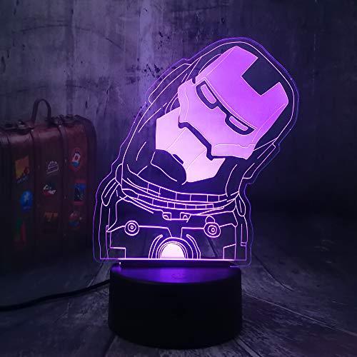 wangZJ 3d Visuelle Illusion Lampe / 7 Farbwechsel Nachtlichter/wohnkultur/Schlafzimmer Acryl Led Kunst/kinder Geschenk/Schöne Iron Man