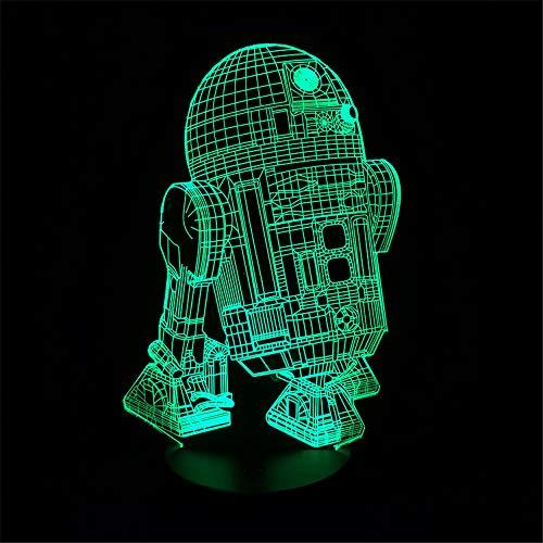 3D-Nachtlicht-Touch-Tisch-Schreibtischlampen , Roboter R2D2 Visuelle LEDs Neue Action Figure Optische Täuschung Farben für Kinder Frien