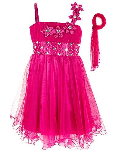 (Festliches Mädchen Kleid mit Stola in vielen Farben M286Bpi Blume Pink Gr. 80)