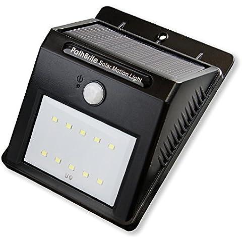 Luz Solar de Sensor de Movimiento PathBrite. 10 LED Ultra Brillante, 2 Modos de Iluminación Inteligente, Detector Automático de Movimiento en la Noche, Sin Herramientas. Mejor para la Placa de Puerta, Puertas de Garaje, Caminos de Entrada, pared de las Cercas, paisajes.