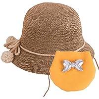 Sombrero de Paja para bebés Sombrero de Verano para niñas Sombrero Set  Beach Floppy Hats Sombrero b012ff0ab5b