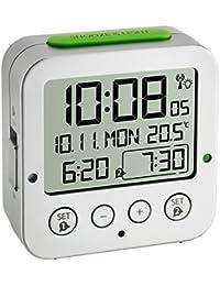 TFA Dostmann 60.2528.54 Bingo Funk-Wecker, autom. Hintergrundbeleuchtung, Datum, Temperaturanzeige und zwei Weckzeiten, silber