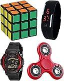 Pappi Boss 3X3X3 Puzzle Cube, Fidget Spinner, Sports 7-Light Watch & Digital Led Bracelet Band For Kids