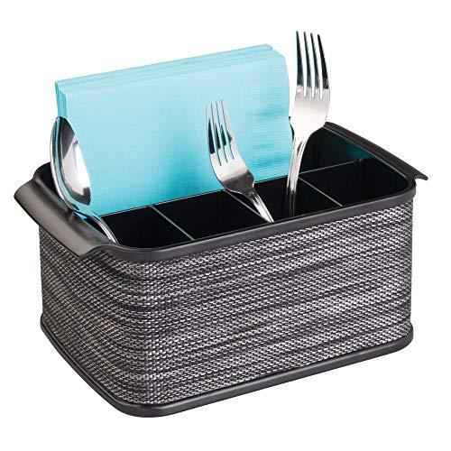 mDesign Besteckhalter mit Griffen - dekorativer Besteckkorb für Küche, Garten oder Picknick - mit großem Fach zur Aufbewahrung von Servietten - smoke/schwarz - Fünf Schublade-buffet