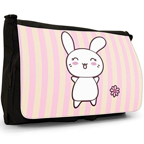 Funny & Cute Kawaii rosa conigli grande borsa a tracolla Messenger Tela Nera, scuola/Borsa Per Laptop Tongue Out Kawaii Rabbit