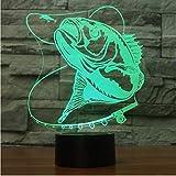 7 Color Peces 3D Ilusión Lámpara Única Acrílico Luz Nocturna Luz Interruptor Táctil Luminaria Lava Lámpara Para Entusiastas de la Pesca regalos