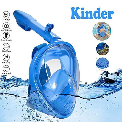 Lypumso Tauchmaske Vollgesichtsmske, Vollgesichts schnorchelmaske mit 180°Sichtfeld Vollmaske,müheloses Atmen,Kein Beschlagen,kein Eindringen von Wasser für Kinder