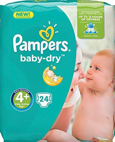 Pampers Baby-Dry Windeln Mini 9–18kg Größe 4+ 24-teilig–Lot de 2