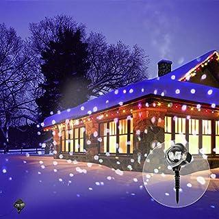 LED Projektor Lichter Weihnachten LED Landschaft mit Fernbedienung Wasserdicht für Hochzeit, Party, Terrasse, Saisonale Beleuchtung (Schneeflocken Lichter)