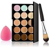 15 Colores De La Paleta De Corrector Contorno 1 Fundación Del Maquillaje Del Polvo Del Cepillo 1 Puff