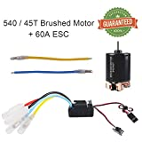 Crazepony-UK 540 45T Brushed Motor with 60A ESC Carbon Brushed Shaft 3.175mm for 1/10 RC Car Truck Running Off-Road Vehicle