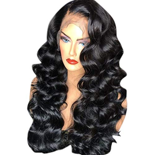 Kashyk Damenperücke, brasilianisch, lang, lockig, bequem, verstellbar, mit Spitze vorne, modisch, gelockt, hohe Qualität, Synthetik, lange Perücke, flauschig, dickes Haar, gewellt