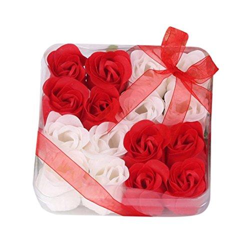 Vogel Sham (AMUSTER Badeseife Rosen Seife Handgefertigt Rose Blume Rosen-Duftseifen in Geschenkbox Weihnachten Geburtstags Valentinstag Geschenk Verschiedene Farben 3/6/9/16 Stücke (16 Stücke, Rot))