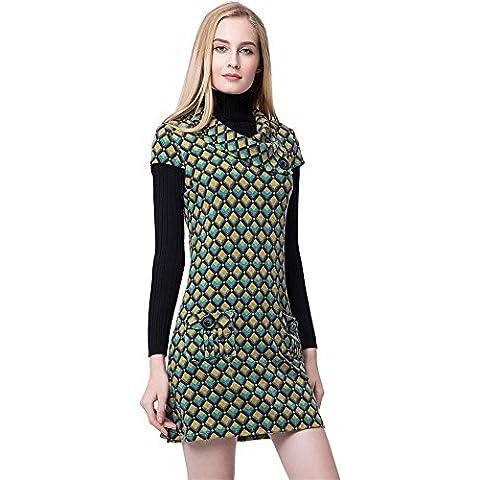 Moda Plaid Cuadros Guinga Paracalle Botones Tasca Maniche Corte Sweater Mini Corta Corto Verano Vestido Túnica