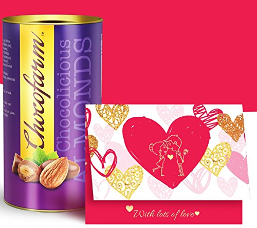 Valentine's GREETING CARD and CHOCOLATES for love, valentine day special gift greeting card, Roasted Almonds Chocolates  available at amazon for Rs.175