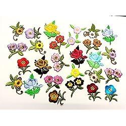 10 Ornamenti Patches Applicazioni, Applique, Toppe termoadesive in tessuto a forma di Fiori, da cucire, stirare, ricamare