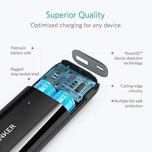 Anker Astro E1 5200mAh Mini Externer Akku Power Bank USB Ladegerät mit PowerIQ für iPhone 6s, 6, 6s Plus, Galaxy S6 S5 und weitere (Schwarz) - 5