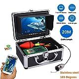 QZH WiFi-Unterwasserfischerkamera, wiederaufladbarer Akku-Fischfinder, 7-Zoll-Kamera mit 1000tvl, mit mobiler APP-Wireless-Videoaufzeichnung für das Angeln im Meer/Fluss,20mcable