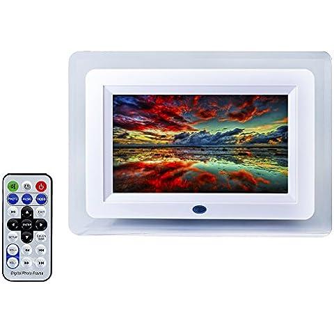 QUMOX 7 pulgadas TFT-LCD Digital Control Remoto Marco de la Foto Alarma Reproductor de MP3 con luz LED 7, Color Blanco