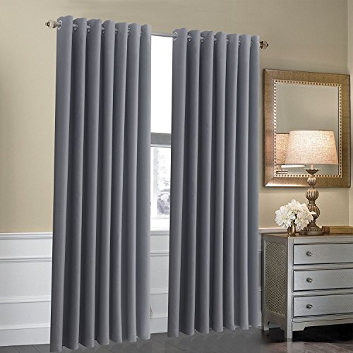"Thermal BLACKOUT Eyelet Curtains pair ~ RingTop Fully Lined Readymade Curtains with Ties ~ 5 UK SIZES And 10 Colours. (90"" x 90"", Grey)"