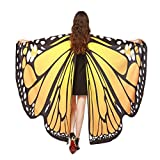 Internet Women Butterfly Wings Shawl Scarves Ladies Nymph Pixie Poncho Costume Accessory Ladies Boho Mini Dresses Capes Stoles Accessory Party Show Costume for Girl (168*135CM, Orange)