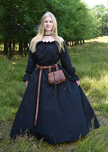 Mittelalterlicher Rock, weit ausgestellt, schwarz aus schwerer Baumwolle – Mittelalter, LARP, Wikinger Größe XL - 4