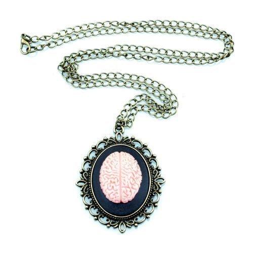 Vintage Gehirn Halskette - ca. 70cm lange Kette - Gedanken Psychologie Philosophie IQ Gemme Kamee Rosa (Rosa Und Das Gehirn Kostüm)