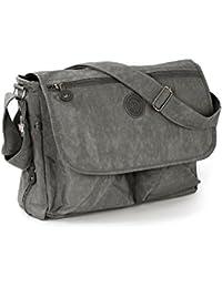 Bag Street Tasche Damen Umhängetasche grau Nylon-Damenhandtasche mit Fee-Anhänger OTJ203K