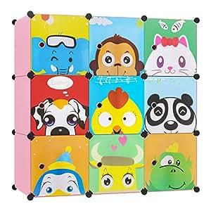 Bamny Meuble Rangement Enfant 9 Cubes, Support de Rangement pour Vêtements, Chaussures, Armoire de Rangement Bricolage avec 1 Portemanteaux et Motifs d'animaux (Rose)