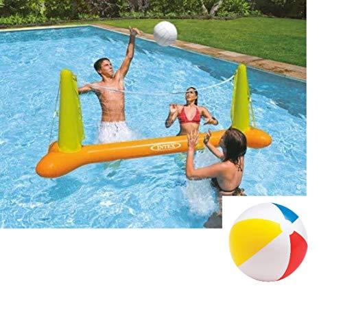 Pool Volleyball Wasser - Wasserball - Volleyball Set Netz Volleyballnetz Wasserballnetz + Ball ca. 239 x 64 x 91 cm, Wasserspielzeug Wasserballspiel aufblasbar für Pool Kinder