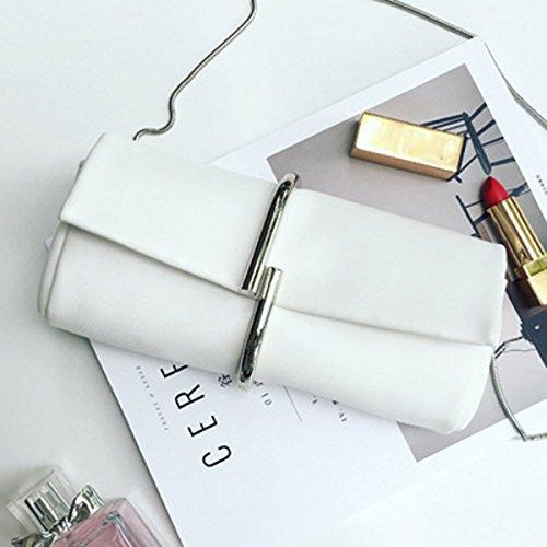 Europa und die Vereinigten Staaten Mode Kette Dinner Tasche, schräge Rucksack, einfaches Paket, Temperament Hand Tasche, Braut Hand Tasche ( Farbe : Schwarz ) Weiß