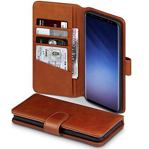 Coque Samsung S9 Plus, Terrapin Étui Housse en Cuir Véritable avec La Fonction Stand pour Samsung Galaxy S9 Plus Case