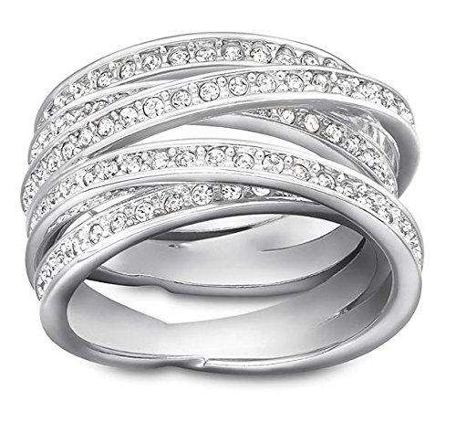 Swarovski nbsp;anello a spirale in argento rodiato e cristalli, colore: bianco 50 (15.9) - 5184536