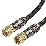 rocabo SAT Anschlusskabel 5,0m - F-Stecker auf F Stecker - Koaxialkabel - Nylonmantel - schwarz - 24k vergoldete Kontakte - Metall Stecker - Ferrit-Filter - für TV, HDTV, Radio, DVB-S, DVB-C -