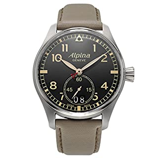 ALPINA MEN'S STARTIMER PILOT 44MM BEIGE LEATHER BAND QUARTZ WATCH AL-280BGR4S6