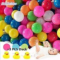 Pack de 50pcs /100pcs bolas, multicolor, diámetro de 5.5cm/ 7 cm ,Marinas Juguete de los Niños Pelotas de Colores para Piscina Bolas de Plástico en Parque Infantil Regalo para Niños Bebé (Color al azar) (7CM, 100pcs bolas)