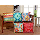 RD TREND 3D Printed Jute Cushion Covers Set of 5-16x16 inch (Red) (RED) (red, 16 x 16)